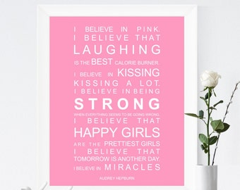 Typography print subway art Audrey Hepburn I Believe in Miracles