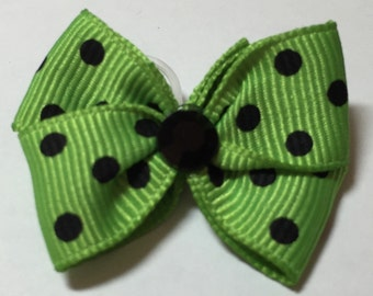 St. Patricks Day Green Dog Grooming Hair Bow with Black Dots & Black Rhinestone Center