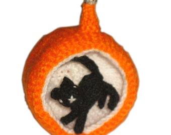 Halloween Diorama Ball Black CAT Ornament Pdf Email Knit PATTERN