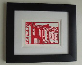Original Linocut Print - Dundas Street in London - Free Shipping
