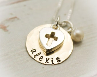 Confirmation Necklace Personalized Hand Stamped 14K Gold Filled and Sterling Silver with Heart Cross Charm