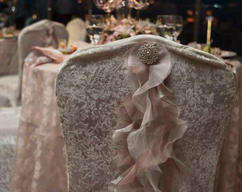 Wedding Chair Cover with Ruffle Train