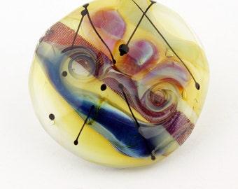 Lampwork Glass Cabochon SRA Focal for Beadwork or Bezel Blue  Purple Gold Green