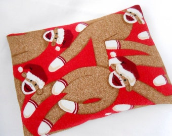 Christmas Sock Monkey Flannel Microwave Heat Pack- Gift for kids, Boys gift, Girls Gift  for Stocking Stuffer Hot and Cold Therapy 9x6 Size