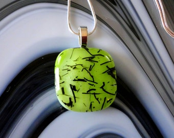 Fused Glass Art Glass Chartruesse Pendant Necklace