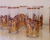 Culver Gold Mushroom Glasses Set of Eight 22 K Fabulousness
