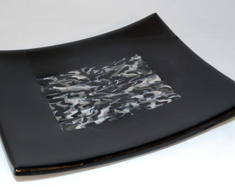Black white and gray fused glass platter