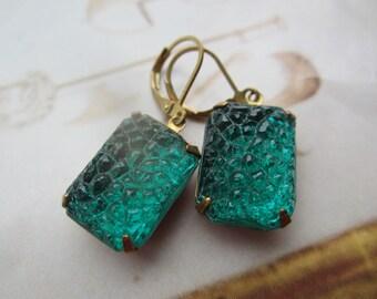 Vintage Emerald Sugar Glass Gems As Earrings On Leverbacks