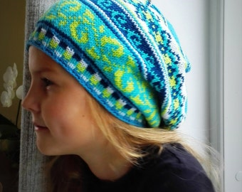 Knit Slouchy hat, 2 sizes, Fair Isle hat  for Girls, Teens, Women, Warm, Colorful, Soft turquoise, green, blue