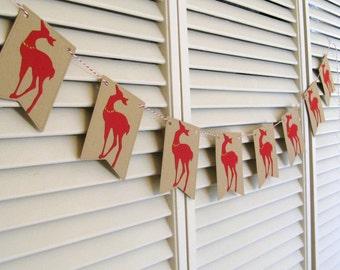 Reindeer Banner, Reindeer Garland, Reindeer Decoration, Christmas Decor, Reindeer Christmas Garland, Christmas Photo Prop, Holiday Mantle