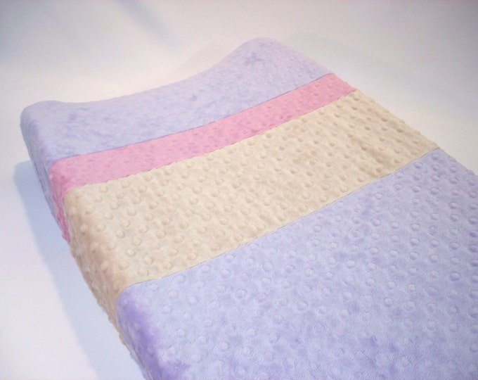 Lavender Purple Changing Pad Cover with Stripes
