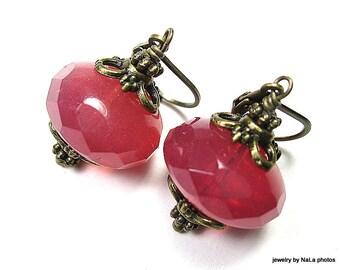 Pink Vintage Style Earrings, Opalescent Pink Sorbet Czech Glass Dangle Earrings, Jewelry Gift Ideas For Her, Womens Jewellery, Pink Lemonade