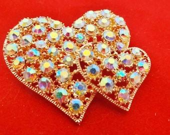 "Vintage 2"" art deco gold tone brooch with aurora borealis rhinestones in great condition, appears unworn"