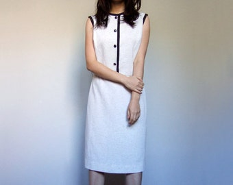 Off White Dress Retro 70s Sleeveless Shift Office 1970s Simple Casual Dress Summer - Large L