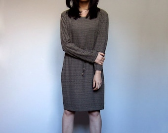 80s Drawstring Dress Simple Minimalist Casual Day Dress Long Sleeve Slouchy Fall Dress - Large L