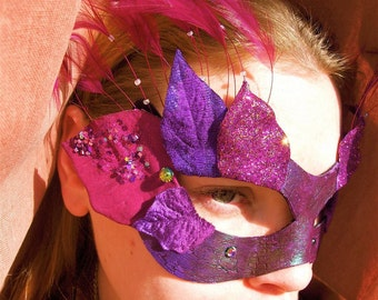 Black with purple Leather Base mask with purple flowers and green sheen