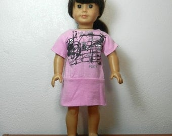 BK Pink Dress with Bottom Band and Black & Silver Music Graphic Design  - 18 Inch Doll Clothes fits American Girl