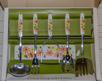 Vintage 1970s Prestige Country Kitchen Kitchen Tool Set with Rack