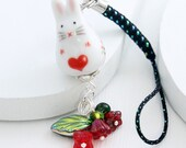 Kawaii Phone Charm - Sweetheart Bunny, Red Glass Flowers, White Rabbit, Red Heart