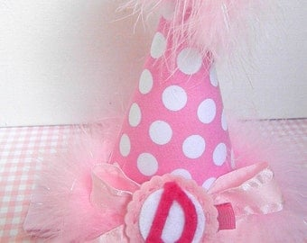 First Birthday Party Hats in Pink with Initial Clip-Removable Clip Hat-Headband Party Hat