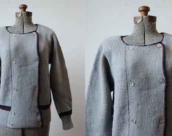 Military Style Wool Sweater /Kyle & Leigh Double-Breasted Sweater / 80's Preppy