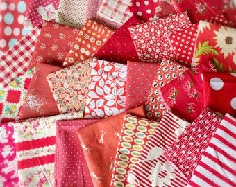 Designer Fabric SCRAP PACK in Red, 20 pieces