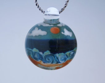 Boro Glass Pendant Hand Blown Lampwork Beach Scene Bead
