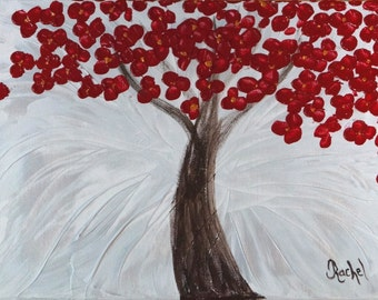 Original Painting Abstract Tree, Modern Art Fantasy Landscape Palette Knife Impasto Red Flowers on Silver and White, 11x14, Free Shipping