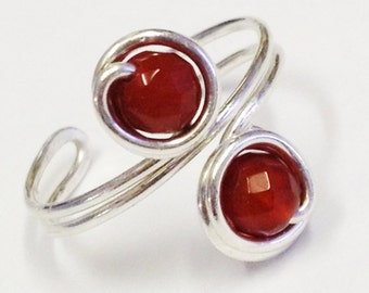 Toe Ring   Red Carnelian Gemstone Ring   Sterling Silver Toe Ring