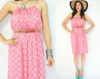 1970's Vintage Circle Print Bubble Gum Pink Sun Dress / Spaghetti Strap with Bow Tie