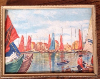 Vintage European Harbor Painting signed Soderlund