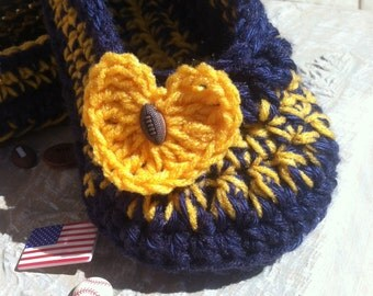 Women's Crochet Team Slippers | Team Colors Crochet Slippers | Hand Crochet Slippers | House Shoes | Crochet Booties | Slippers