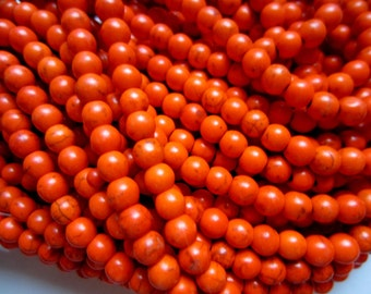 60 Orange howlite Turquoise beads 6mm gemstone day of the dead jewelry supplies 02G