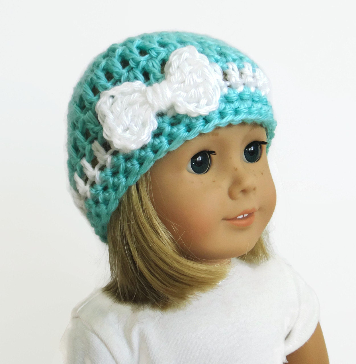 Knitting Pattern For Dolls Beanie : 18 inch doll hat crochet doll clothes doll beanie with bow