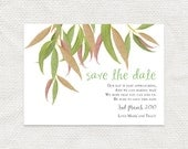 printable save the date wedding announcement printable file digital PDF australian garden forest outdoor event leaves tree - gum leaf design