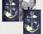 nautical wedding save the date engagement announcement photo anchors away printable chalkboard roses floral sea beach navy sketch modern diy