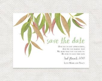 printable wedding save the date - gum leaf design - forest wedding announcement, australian bush wedding, garden wedding outdoor leaves tree