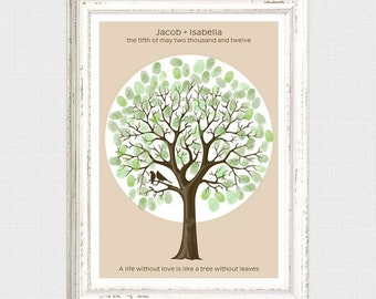 thumbprint wedding guest book tree - printable - rustic fingerprint tree unique guest book alternative custom wedding gift birds diy poster