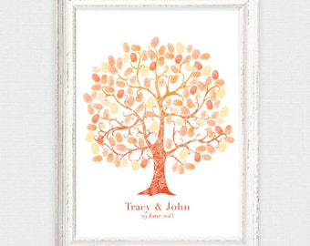 wedding fingerprint guest book tree - diy printable - thumbprint wedding tree personalised customised, birthday, baby shower,  guest sign in