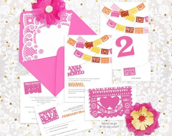fiesta printable wedding stationery set invitation suite mexican papel picado invite, reception or ceremony package mexico colorful party
