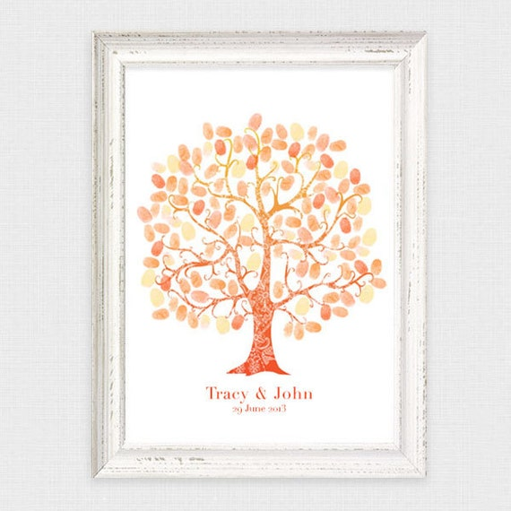 wedding fingerprint guest book tree - diy printable - thumbprint wedding tree personalised customised, birthday, baby shower,  guest sign in