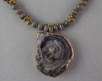 Unusual Gray Stone Necklace