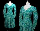 Vintage 1960s Silk Bamboo Print Pleated Skirt Cocktail Party Dress M