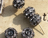 10 Pcs. Stacked Metal Barrel Rhinestone Beads in Black with Clear Rhinestones 10mm x 9mm