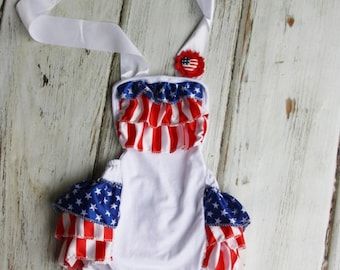 4th of July Romper - Petti Romper- baby 4th of july outfit - Baby Sunsuit - Bubble Romper - Ruffle Bottom - Girls 4th of July Outfit- Flag