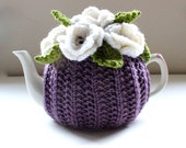 The Heather Garden - Floral tea cosy in merino wool & cashmere mix - Dusky Heather Purple - Size Medium - Ready to Ship