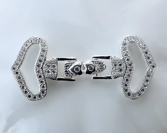 Top Quality Cubic Zirconia Clasp Multi Strand Tab White Gold Plated Rhinestone Crystal Necklace Bracelet Jewelry Supply AC090