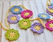 Crochet Flower Garland - Bunting - Festive Springtime Flower - Wedding Decoration - Nursery Decor
