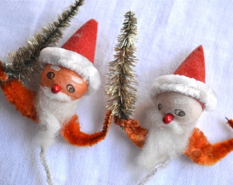 Vintage Christmas Ornaments - Spun Cotton Santa Picks - Chenille and Bottle Brush Trees