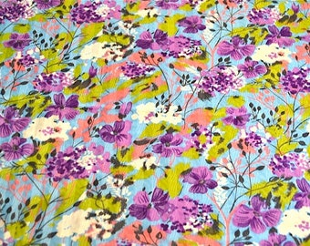 Vintage Fabric - Lavender Violets on Turquoise Chintz - By the Yard